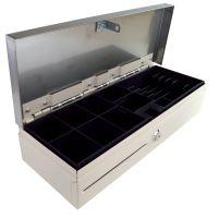 Pokladní zásuvka flip-top FT-460V3-RJ10P10C, bez kabelu, se zam. krytem, NEREZ víko, bílá