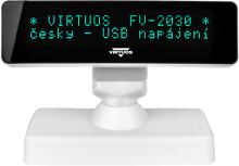 VFD displej zákaznický Virtuos FV-2030W, 2x20 znaků 9mm, USB, bílý