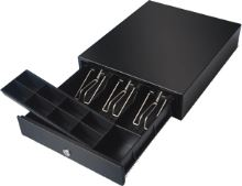 Pokladní zásuvka mikro EK-300V RJ10P10C, 9-24V, bez kabelu, pořadač 3/4, černá