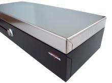 Pokladní zásuvka flip-top FT-460V2-RJ10P10C, bez kabelu, se zam. krytem, NEREZ víko, černá